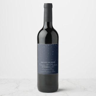 Elegant Navy & Silver Falling Stars Wedding Wine Label