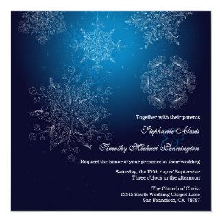 Elegant navy snowflakes winter wedding invitation