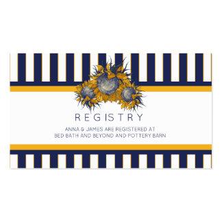 Elegant Navy Sunflower Wedding Registry Card Pack Of Standard Business Cards