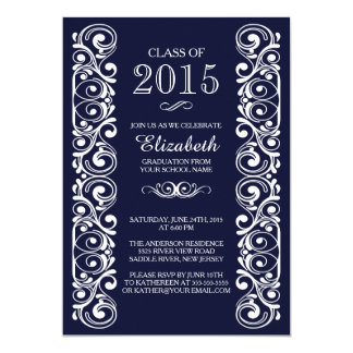 Elegant Navy White Graduation Party Invitation