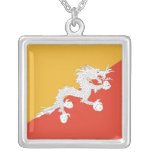Elegant Necklace with Flag of Bhutan