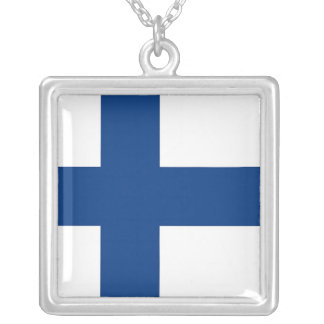 Elegant Necklace with Flag of Finland