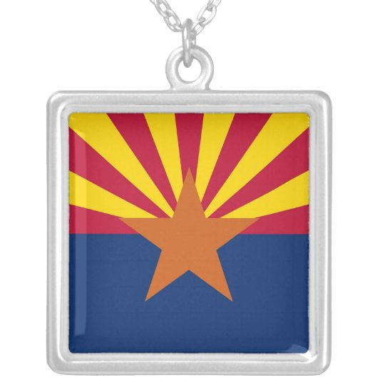 Elegant Necklace with Flag of the Arizona