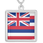 Elegant Necklace with Flag of the Hawaii