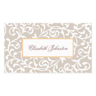 Elegant Neutral Tone Damask Feminine Floral Pack Of Standard Business Cards