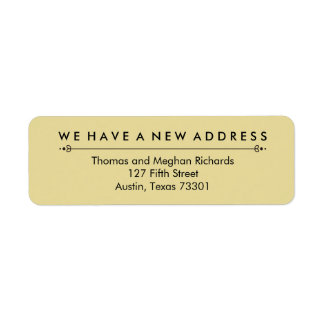 Elegant New Address Announcement in Black and Gold Return Address Label