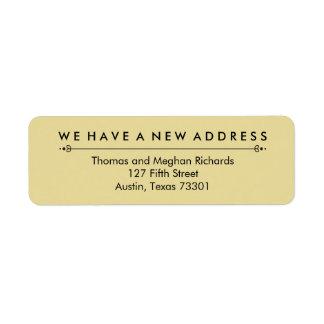 Elegant New Address Announcement in Black and Gold Return Address Label