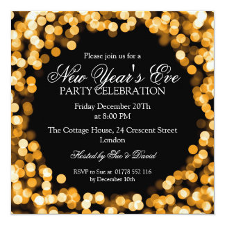 Elegant New Years Eve Gold Sparkly Lights Card