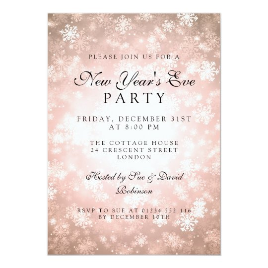 Elegant New Years Eve Party Copper Winter Card