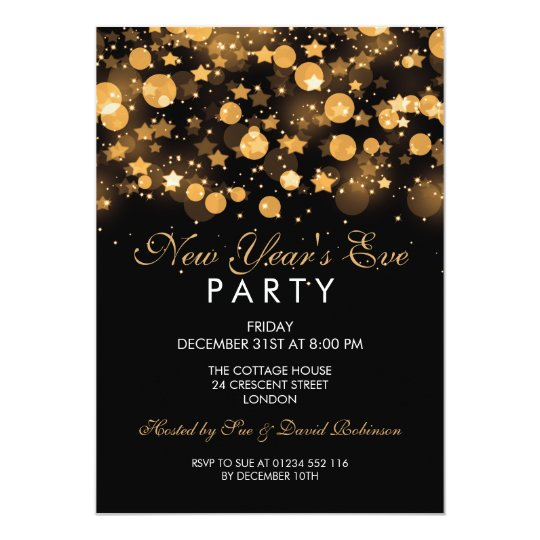 Elegant New Years Eve Party Gold Sparkling Stars