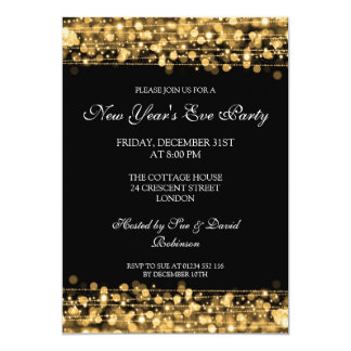 Elegant New Years Eve Party Sparkles Gold 13 Cm X 18 Cm Invitation Card