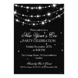 Elegant  New Years Eve Sparkling Chain Black 13 Cm X 18 Cm Invitation Card