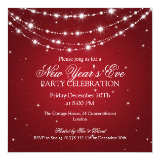 Elegant  New Years Eve Sparkling Chain Red 13 Cm X 13 Cm Square Invitation Card