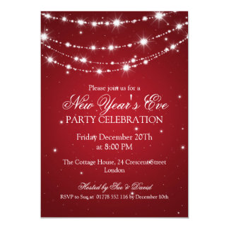 Elegant  New Years Eve Sparkling Chain Red 13 Cm X 18 Cm Invitation Card