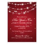 Elegant  New Years Eve Sparkling Chain Red Custom Invitation