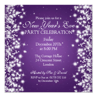 Elegant New Years Eve Winter Sparkle Purple 13 Cm X 13 Cm Square Invitation Card