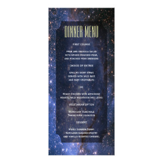 Elegant Night Sky / Space Theme Slim Dinner Menu