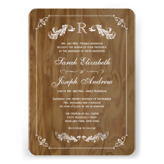 Elegant Oak Wood Monogram Wedding Invitations