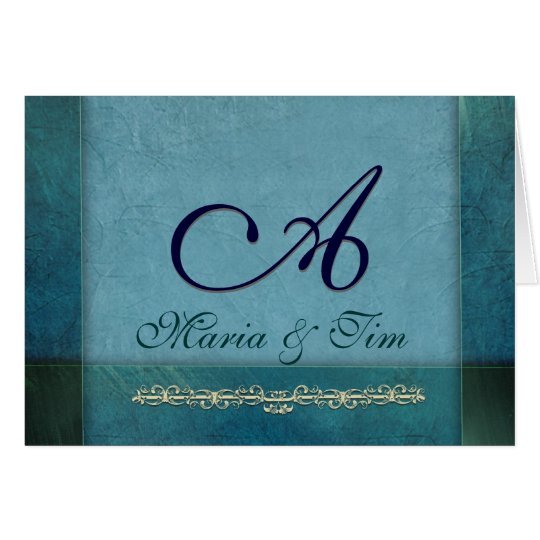 Elegant ocean and sky blue monogram card