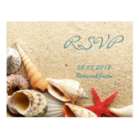 elegant ocean sand seashells beach wedding rsvp postcard