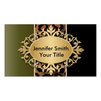 Elegant Olive Green and Black Leopard Print Pack Of Standard Business Cards