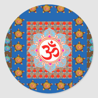 Elegant OmMANTRA Mantra: Yoga Meditation Healing A Round Sticker