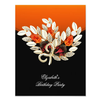 Elegant Orange Amber Jewel Birthday Party 11 Cm X 14 Cm Invitation Card