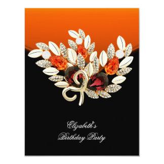 Elegant Orange Amber Jewel Birthday Party 4.25x5.5 Paper Invitation Card