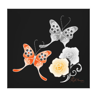 Elegant Orange And Black Butterflies And Roses Stretched Canvas Print