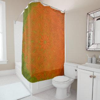 Elegant Orange and Deep Green Mandala Shower Curtain
