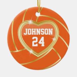 Elegant Orange and Gold Volleyball Christmas Tree Ornament