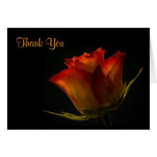 Elegant Orange and Yellow Rose Wedding Thank You Greeting Card