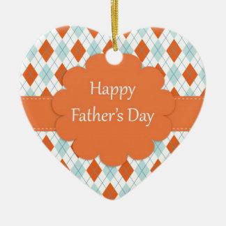 Elegant Orange Argyle Pattern Dad Ceramic Heart Decoration
