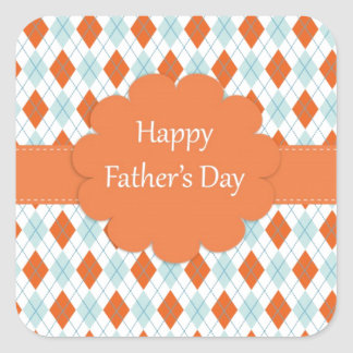Elegant Orange Argyle Pattern Dad Square Sticker