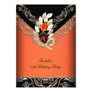 Elegant Orange Black Caramel Gold Birthday Party 4.5x6.25 Paper Invitation Card