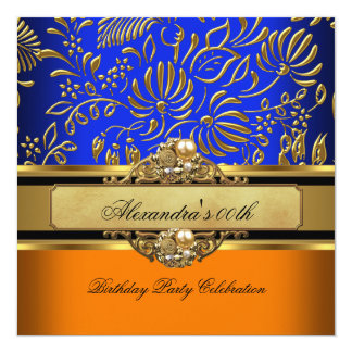 Elegant Orange Blue Gold Damask Birthday Party 2 5.25x5.25 Square Paper Invitation Card