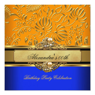 Elegant Orange Blue Gold Damask Birthday Party Card