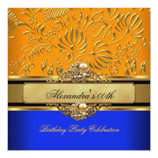 Elegant Orange Blue Gold Damask Birthday Party 5.25x5.25 Square Paper Invitation Card