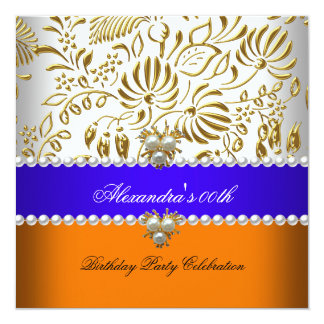 Elegant Orange Blue Gold Damask Pearl Party 13 Cm X 13 Cm Square Invitation Card