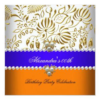 "Elegant Orange Blue Gold Damask Pearl Party 5.25"" Square Invitation Card"