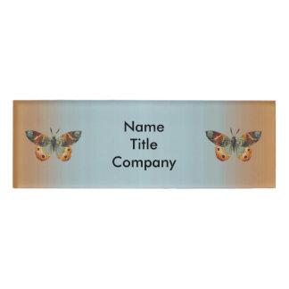 Elegant Orange Blue Wings Spread Butterflies Name Tag