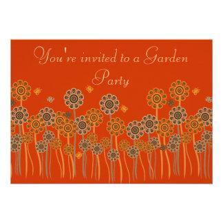 Elegant Orange & Brown Retro Flowers Garden Party Custom Invitation
