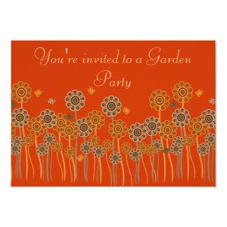 "Elegant Orange & Brown Retro Flowers Garden Party 5"" X 7"" Invitation Card"