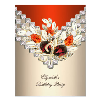 Elegant Orange Cream Coffee Jewel Birthday Party 4.25x5.5 Paper Invitation Card