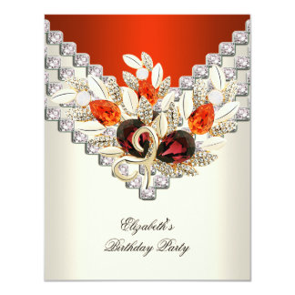 Elegant Orange Cream White Jewel Birthday Party 11 Cm X 14 Cm Invitation Card