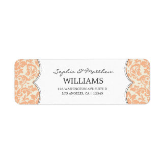 ELEGANT ORANGE DAMASK | ADDRESS LABELS