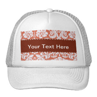 Elegant Orange Damask Mesh Hats