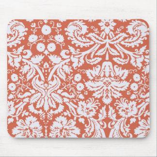 Elegant Orange Damask Mouse Pad