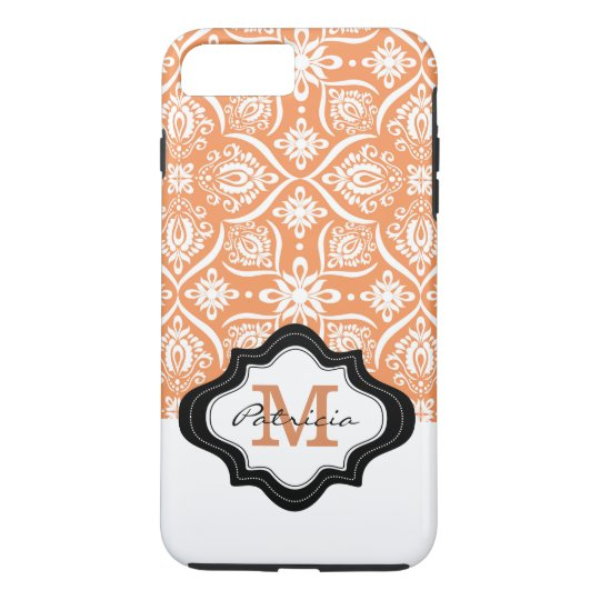 Elegant Orange Damask Pattern Custom Monogram [3] iPhone 8 Plus/7 Plus Case