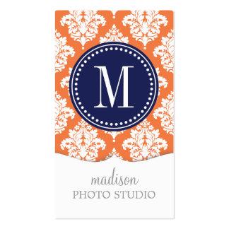 Elegant Orange Damask Personalized Business Card Template